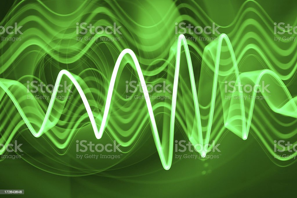 Green Electron Wave (soundwave) stock photo
