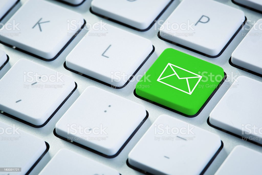 Green email button stock photo