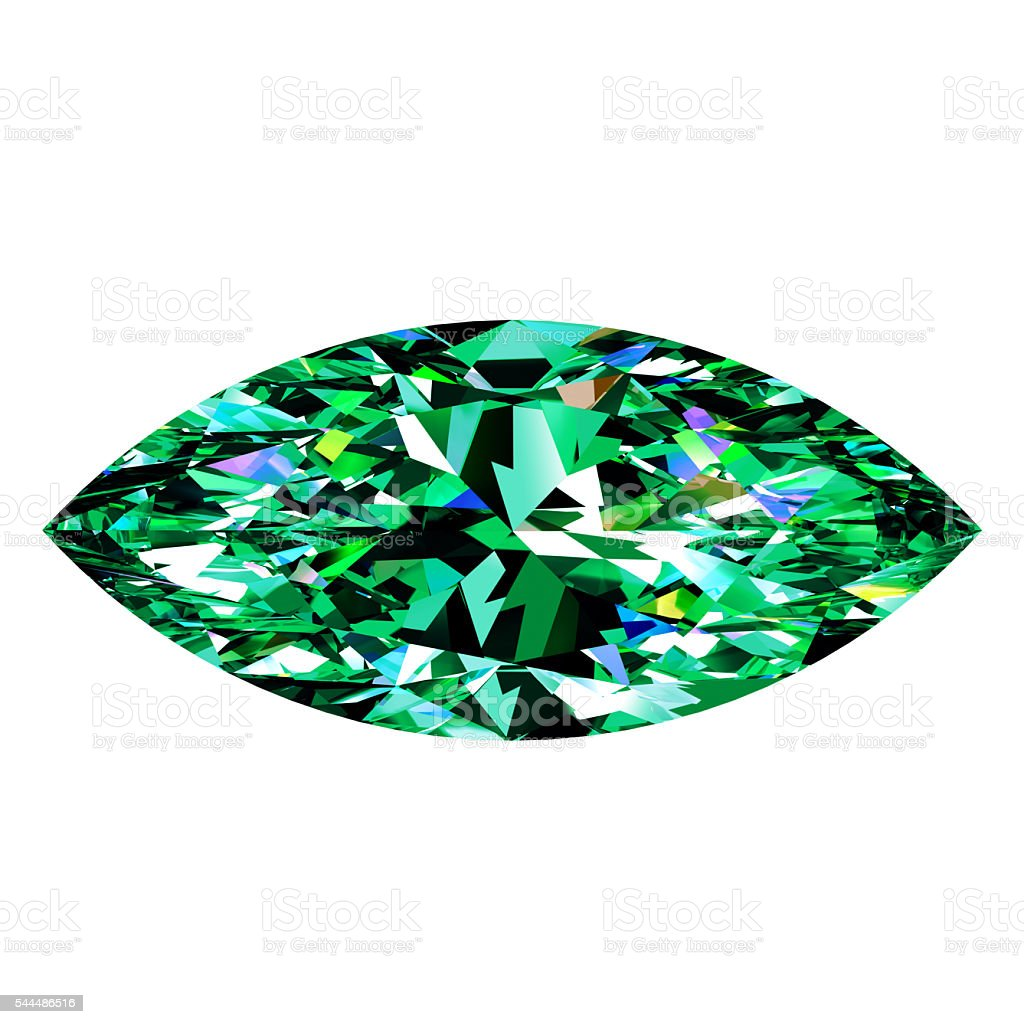Green Emerald Marquise stock photo