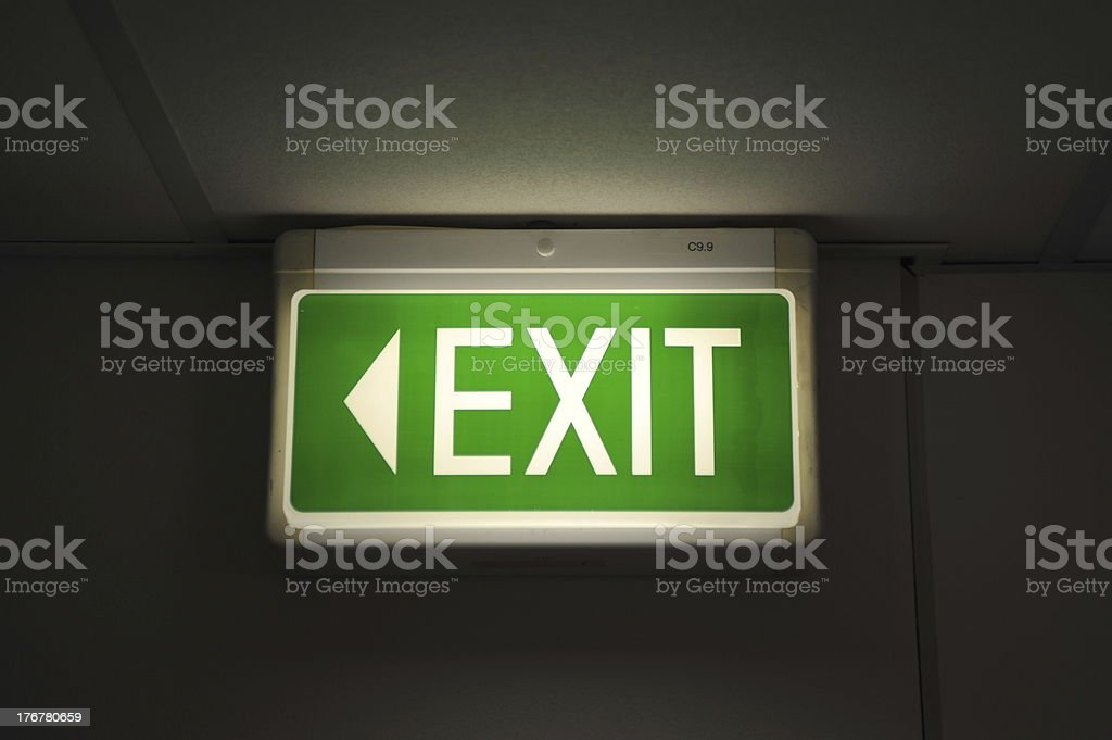 Green Emergency Exit Sign (XLarge) royalty-free stock photo