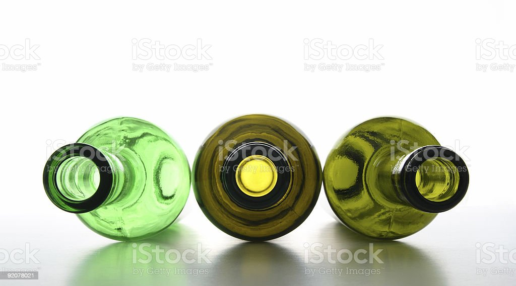Green empty bottles for recycling royalty-free stock photo
