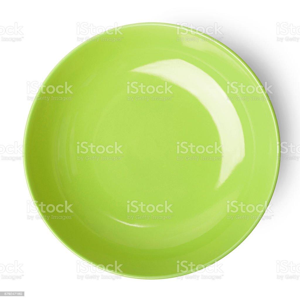 Green empty plate. stock photo