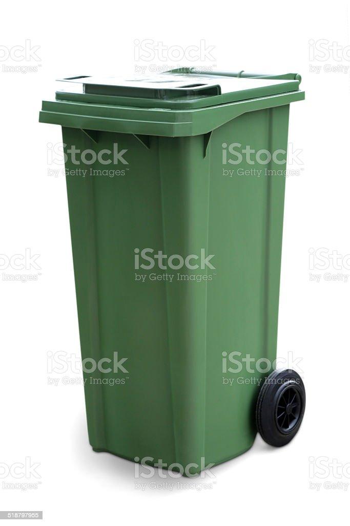 Green empty recycling bin stock photo