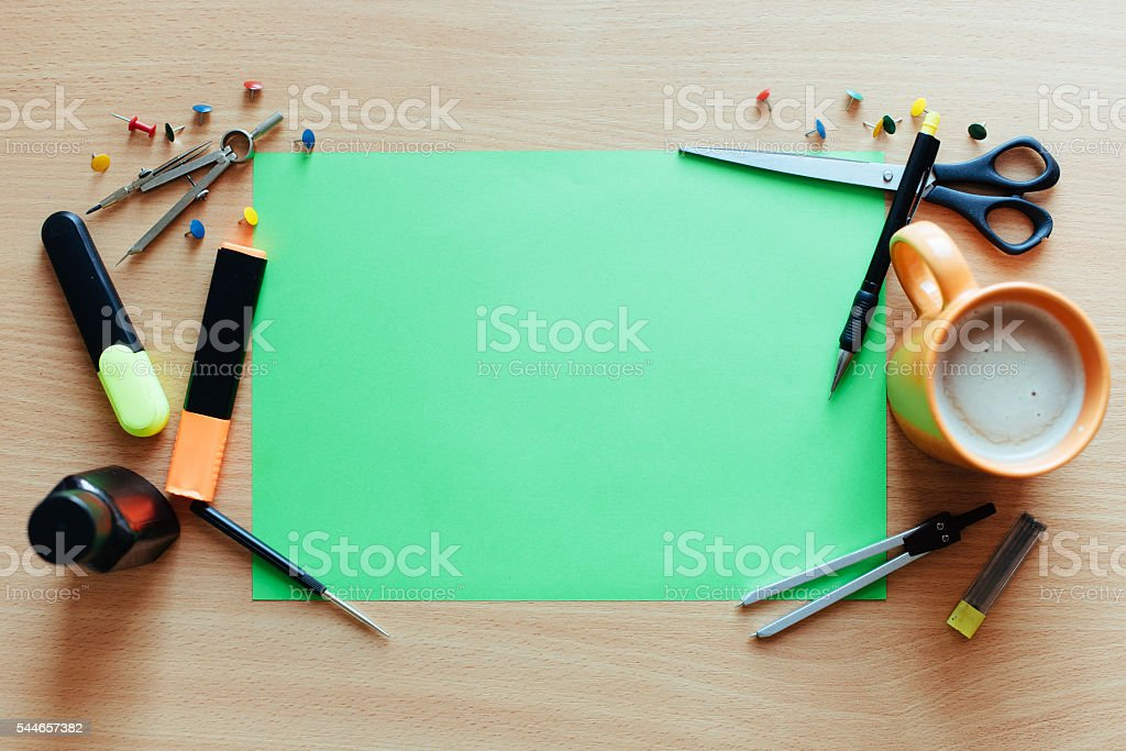 Green empty sheet with lots. stock photo