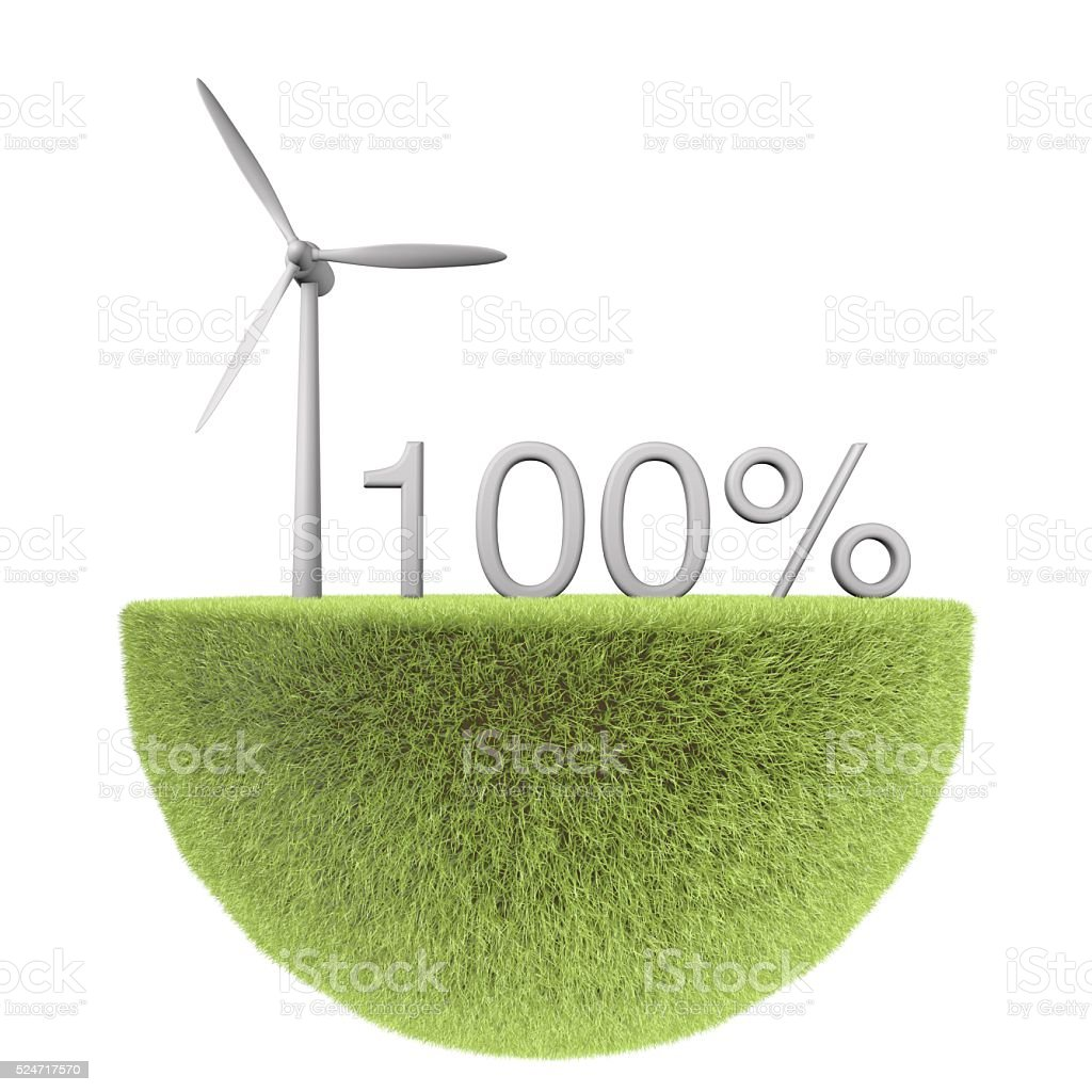 Green energy 100% wind turbine stock photo