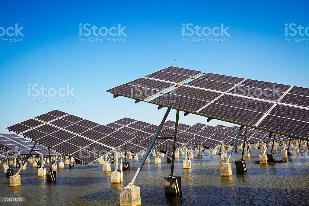 Green energy and sustainable development of solar energy stock photo