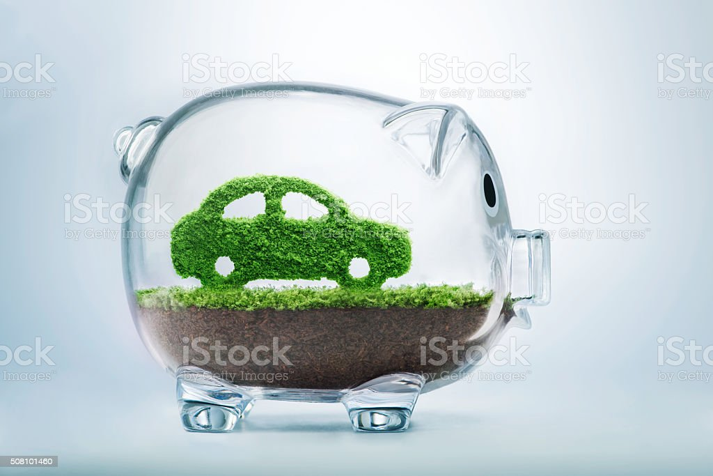 Green energy car stock photo