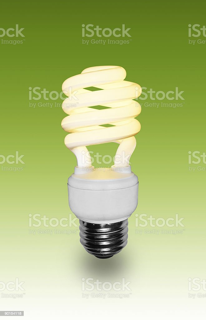 Green Energy Fluorescent Light Bulb royalty-free stock photo