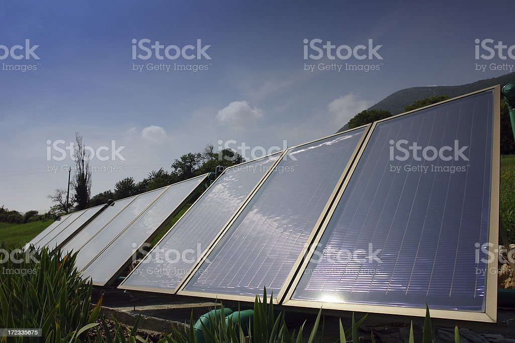 Green energy from solar panels royalty-free stock photo