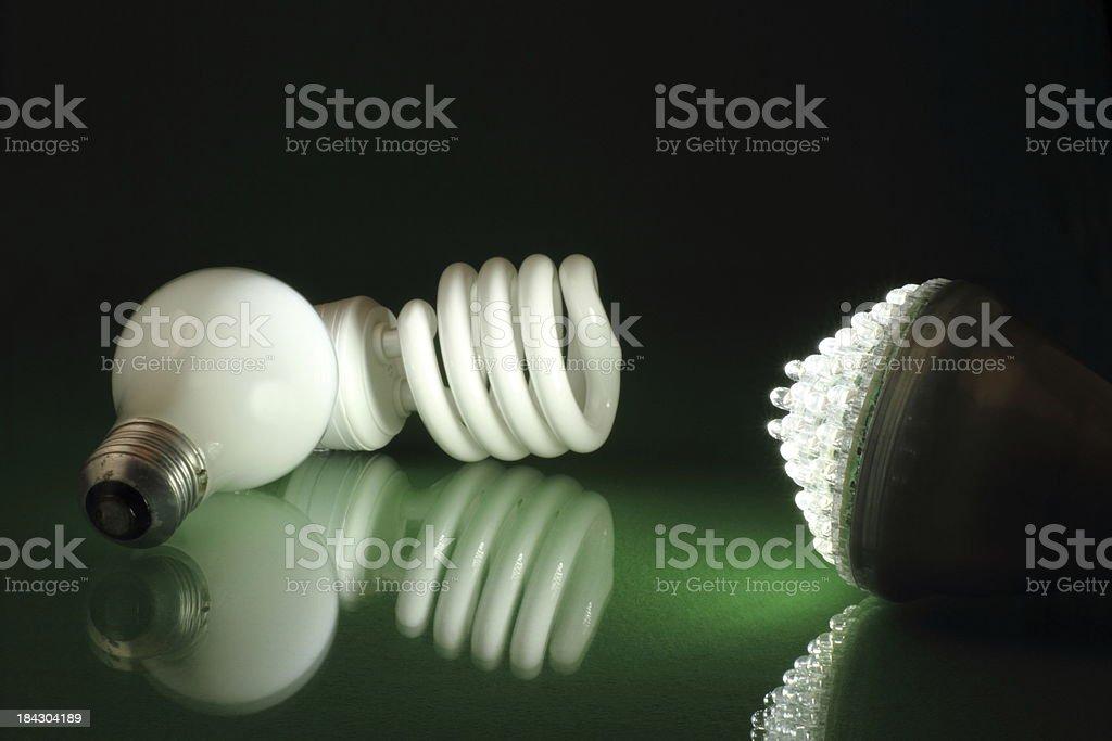 Green Energy LED Lightbulb Horizontal stock photo