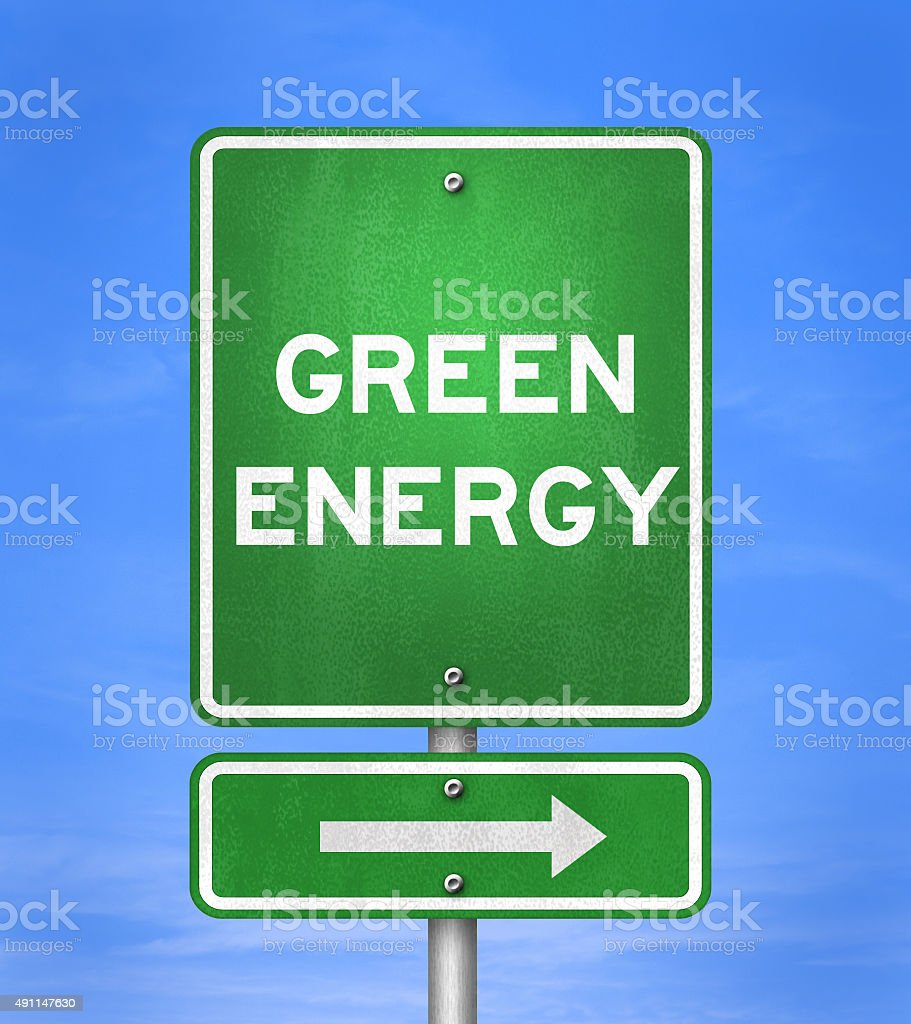 Green Energy - Road sign stock photo