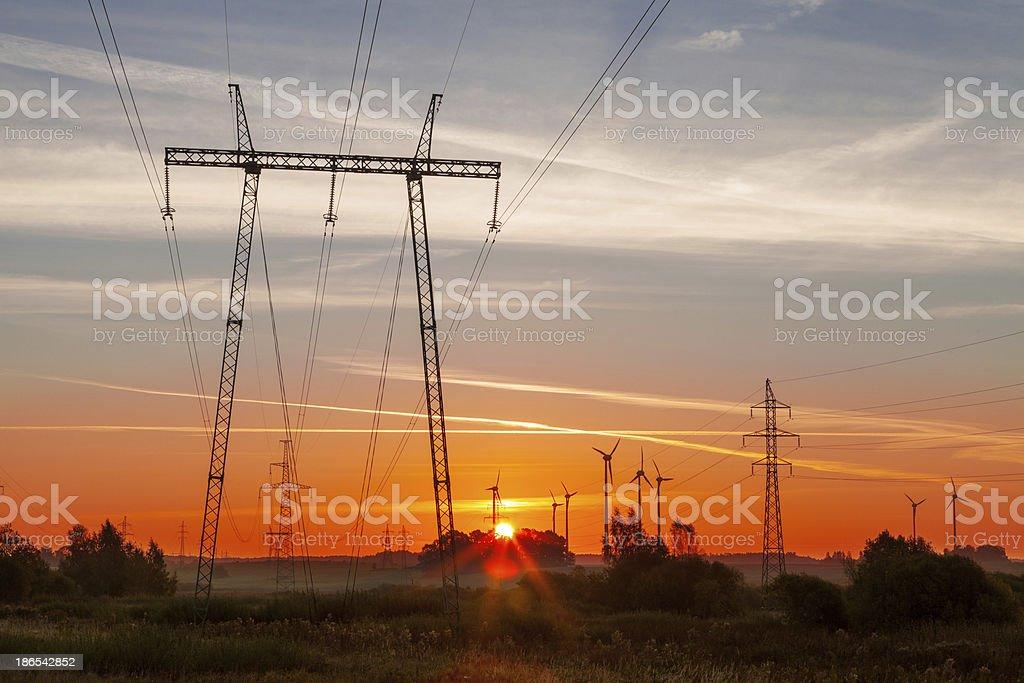 Green energy sunrise stock photo