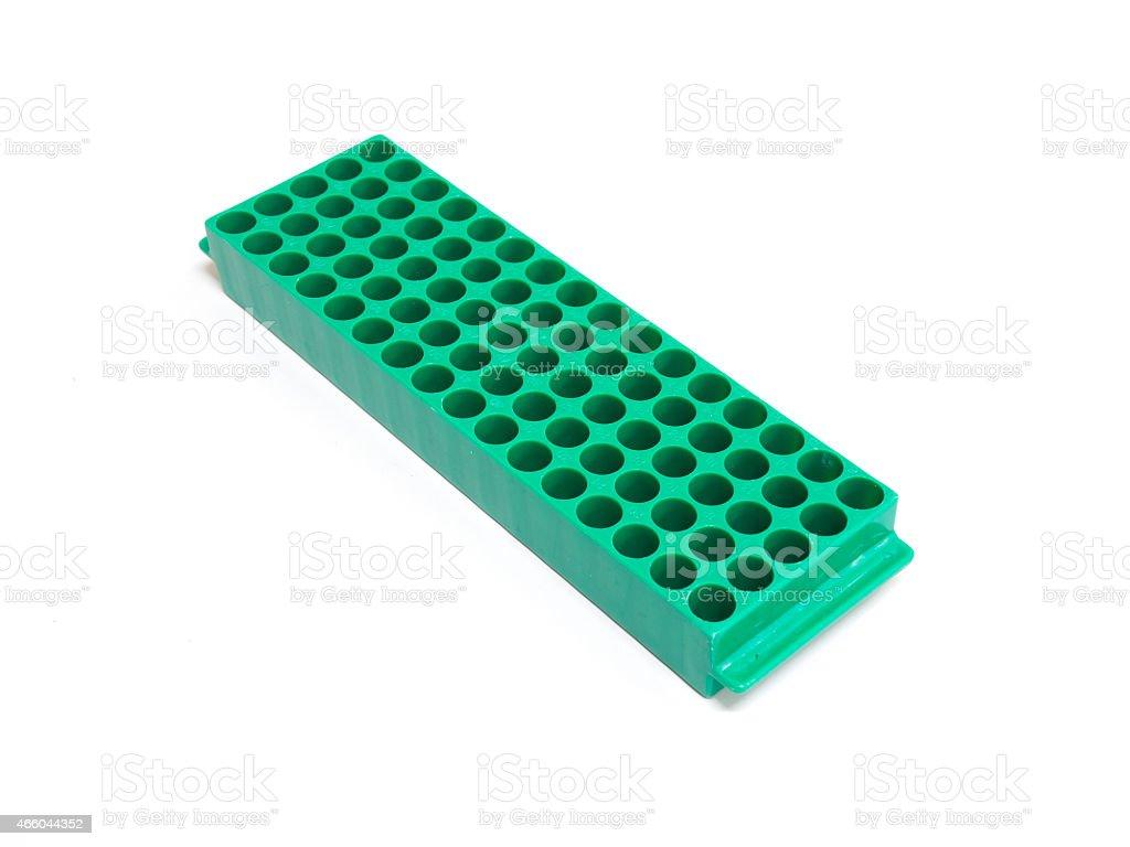Green eppendorf rack stock photo
