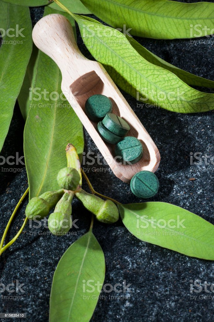 Green Eucalyptus leaves, seeds  and pills in wooden scoop stock photo