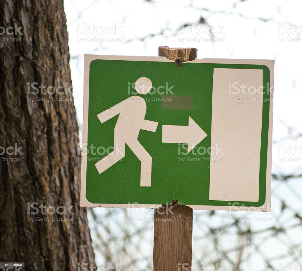 green exit sign to right royalty-free stock photo
