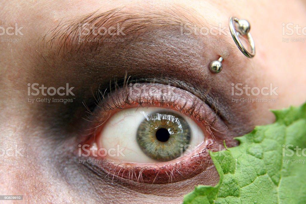 Green eye & pierce royalty-free stock photo