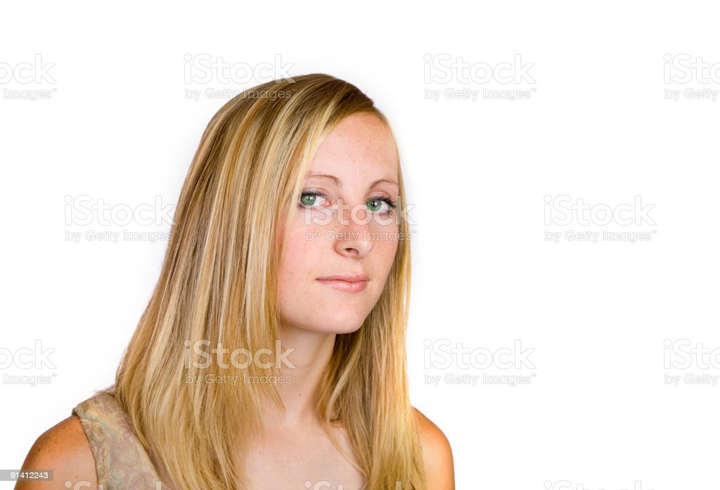 Green Eyed Woman stock photo
