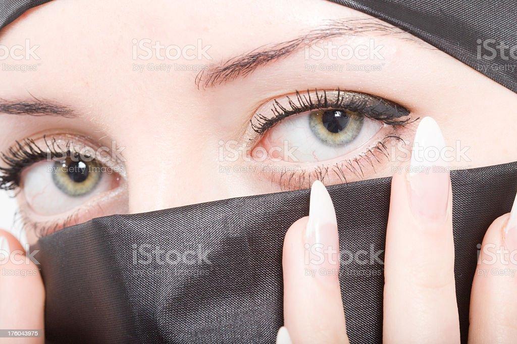 Green Eyes: Beautiful women wearing a Hijab royalty-free stock photo