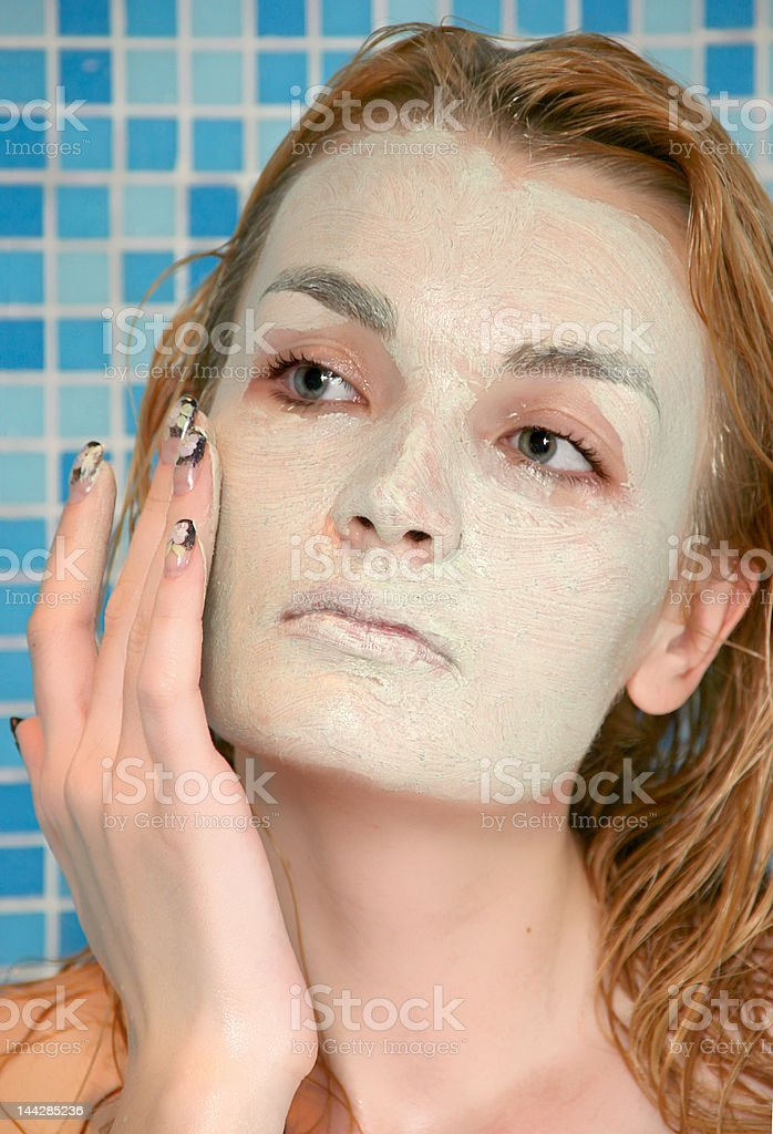 green face pack in shower royalty-free stock photo