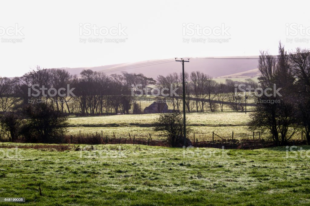 green farm land South Downs national Park, united Kingdom stock photo