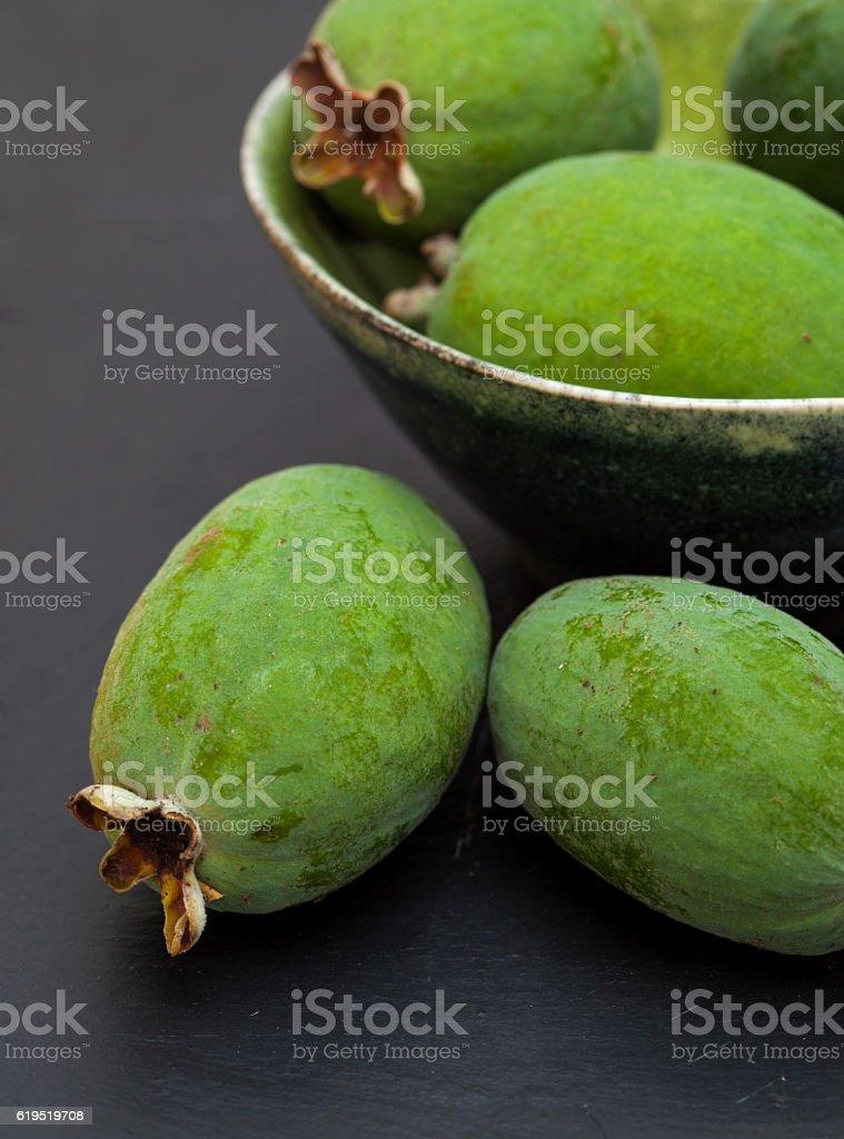 green feijoa fruit stock photo