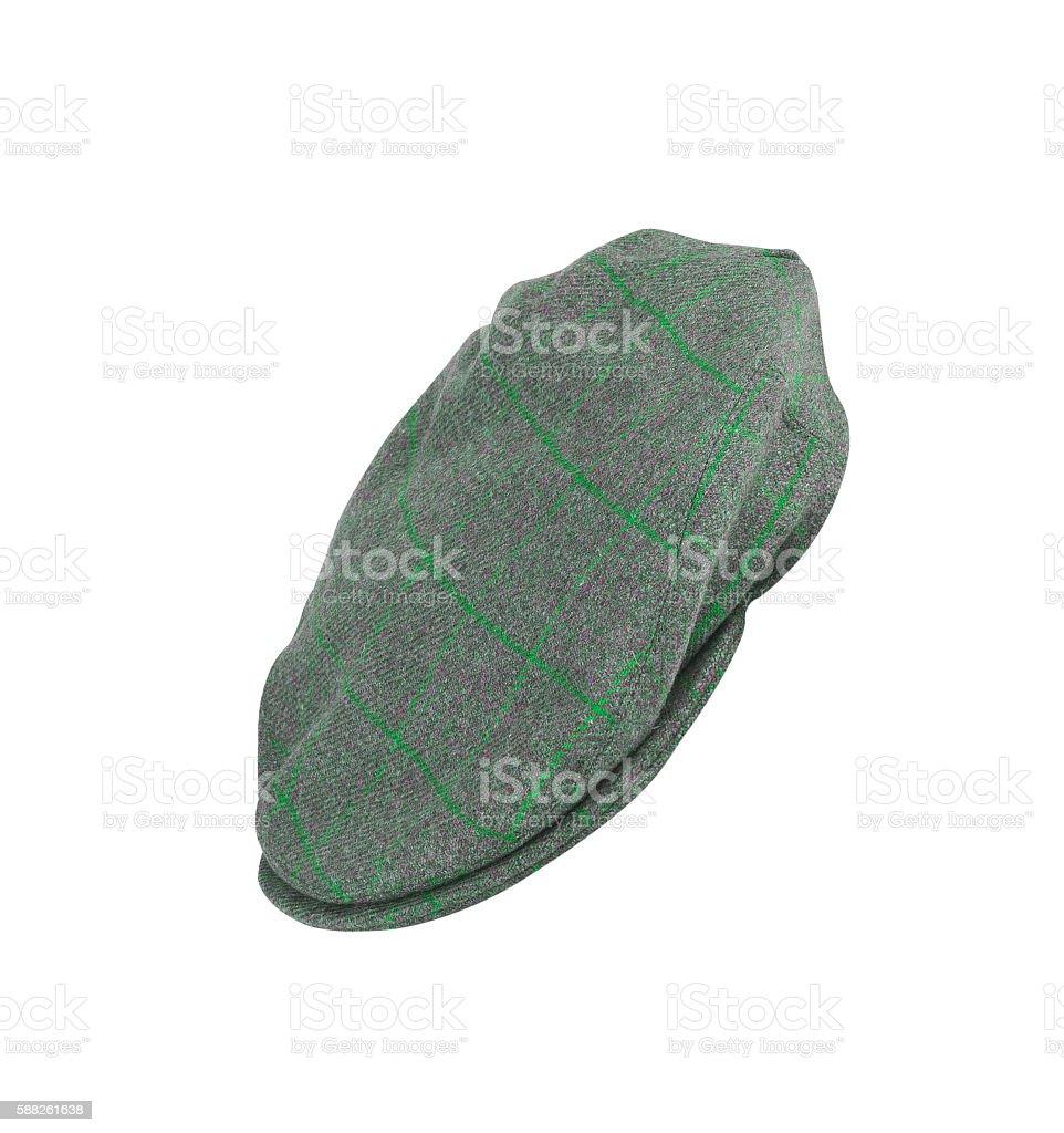 green felt man's cap isolated on white stock photo