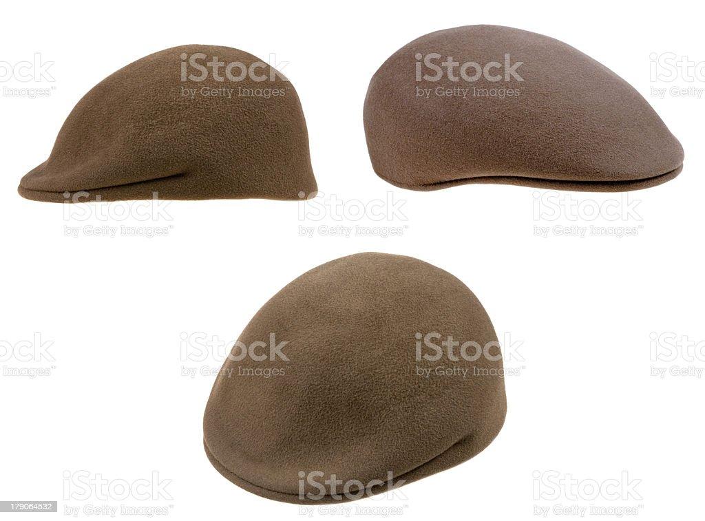 green felt mans cap stock photo