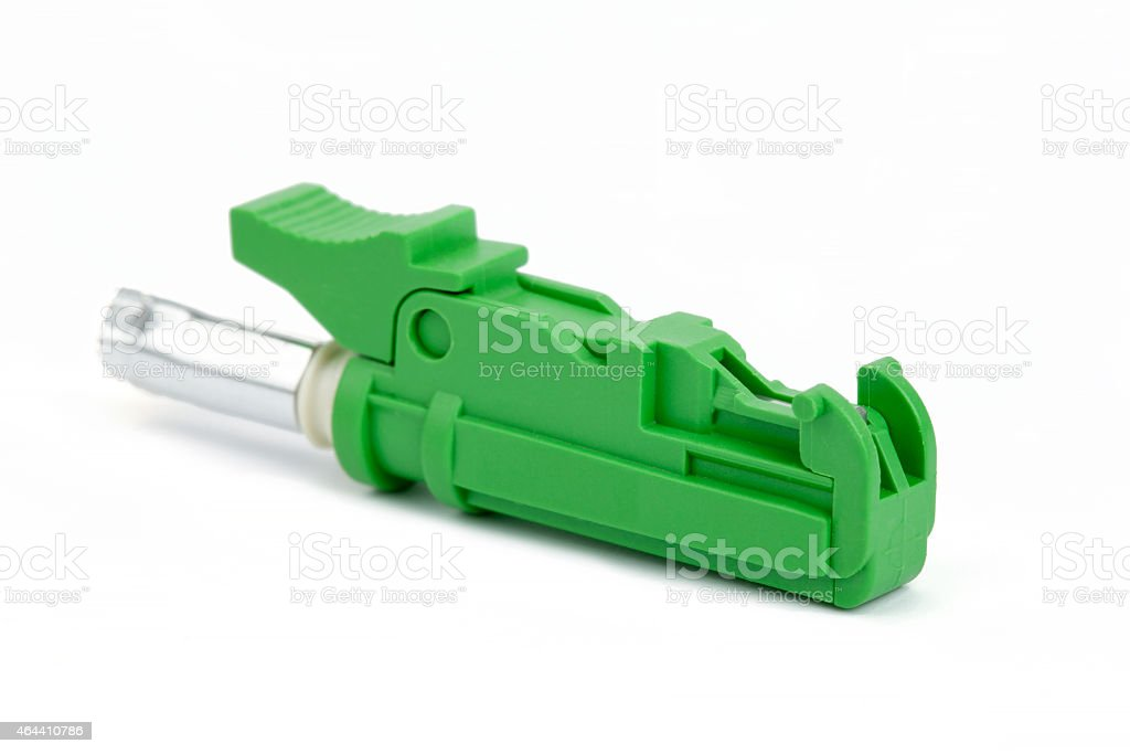 green fiber optic E2000 connector stock photo