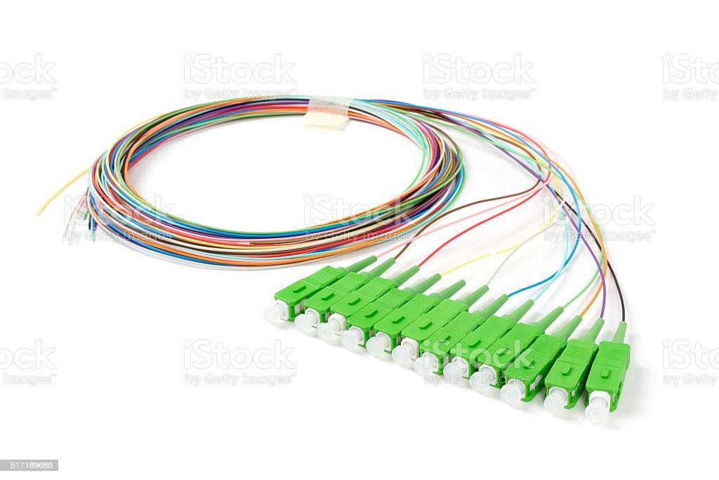 green fiber optic SC connectors stock photo