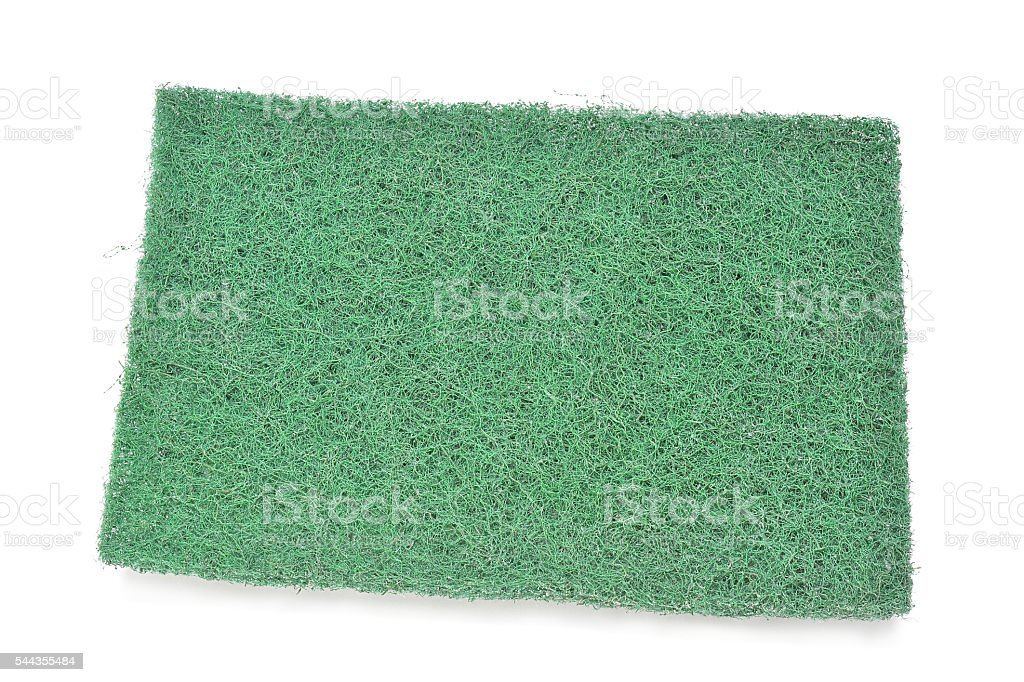 Green fiber scourer pad stock photo