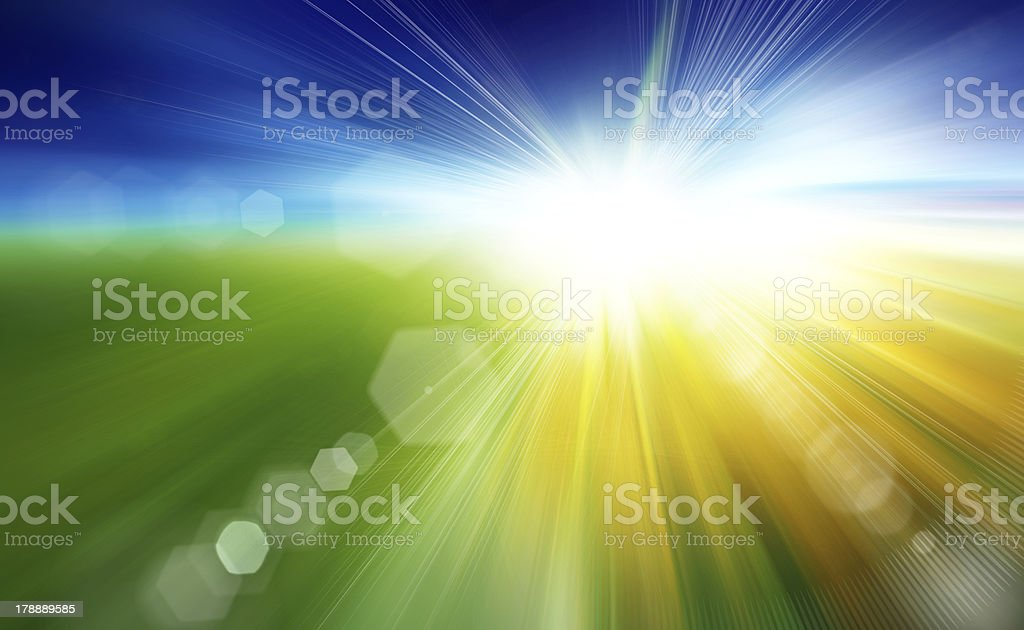 Green field and blue sky with white cloud royalty-free stock photo