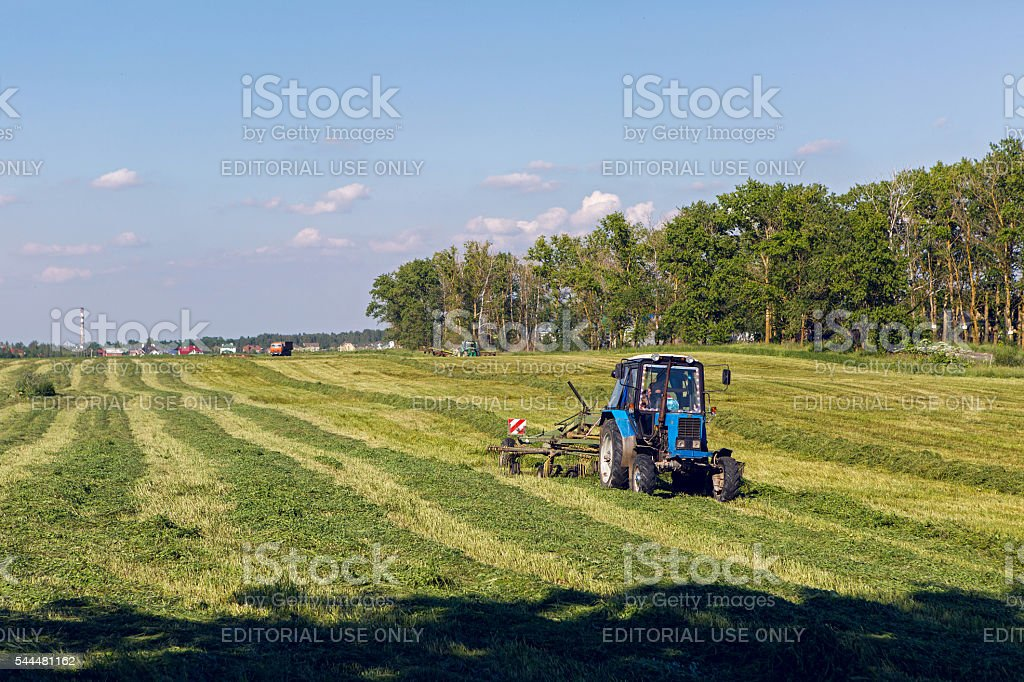 green field in the summer of truck driving next to stock photo