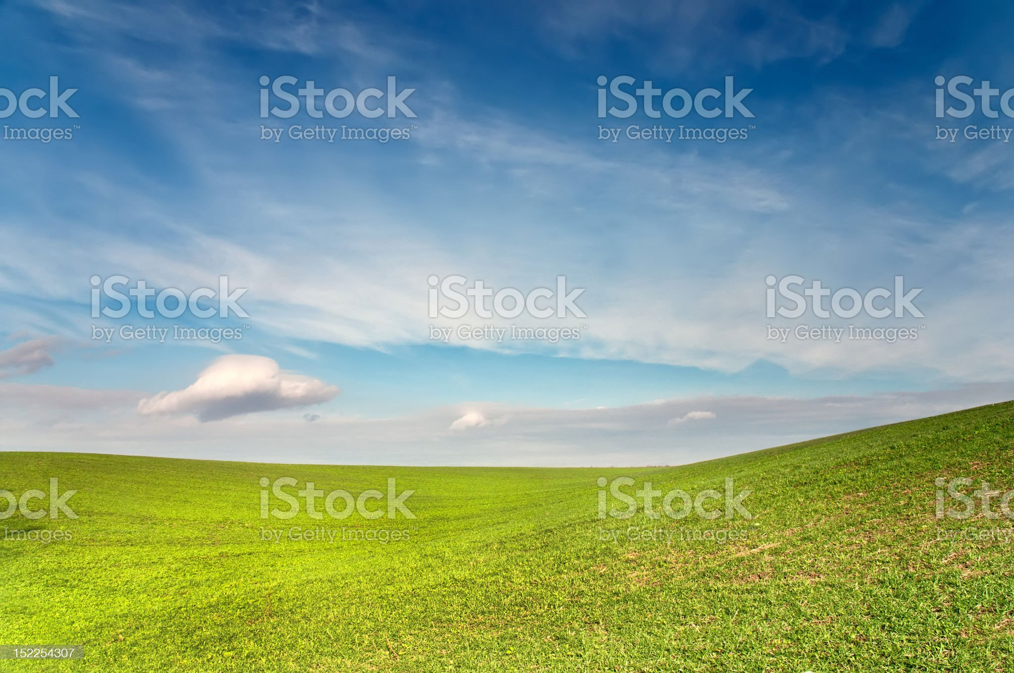 Green field is under blue sky royalty-free stock photo