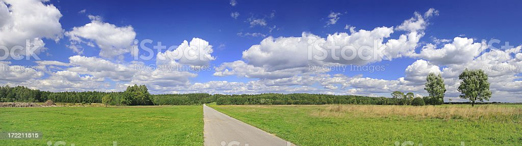 Green field Landscape - country road royalty-free stock photo