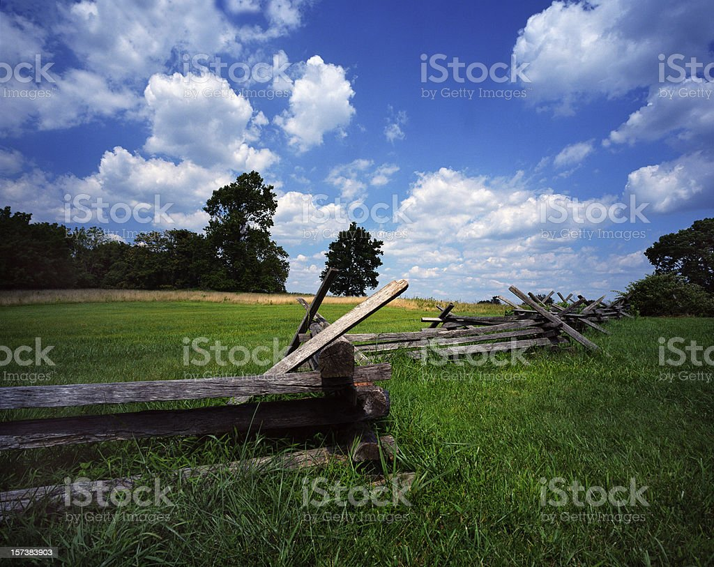 Green Field Wood Fence stock photo