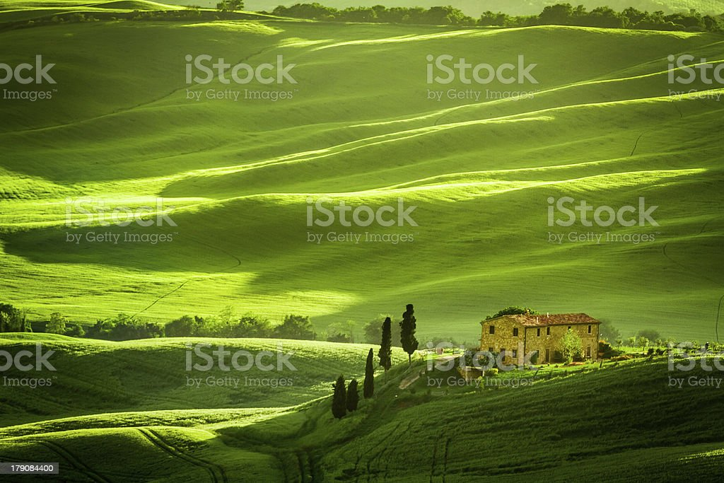 Green fields and meadows with agrotourism royalty-free stock photo