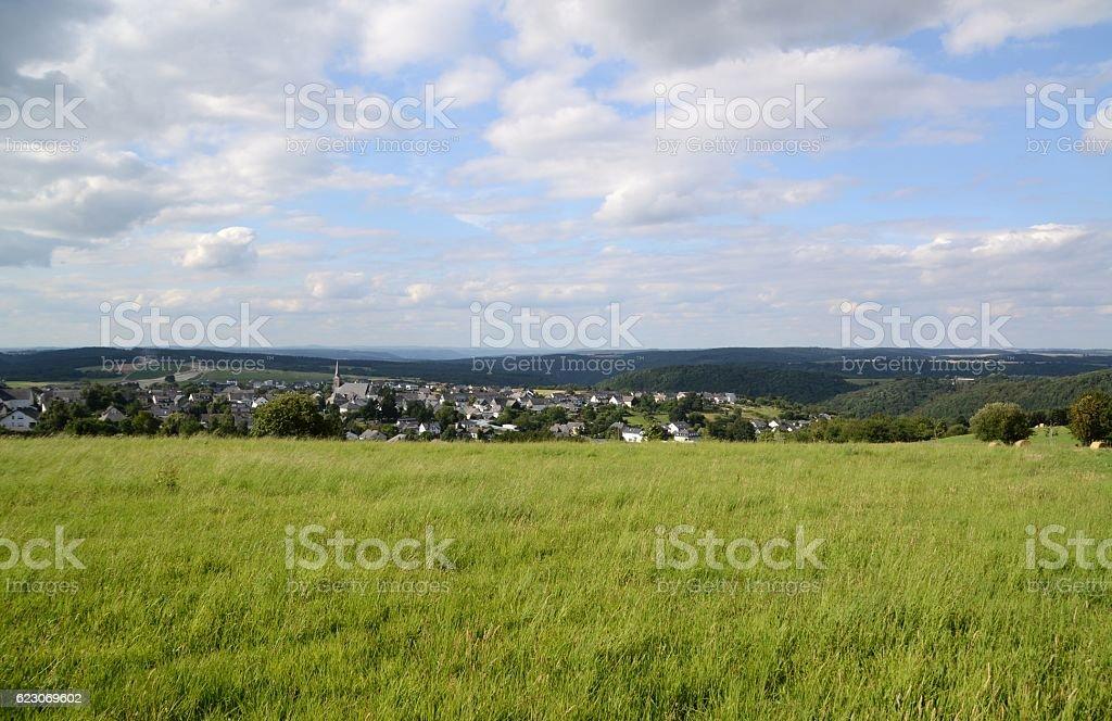 Green fields in Rhineland-Palatinate land, Germany stock photo