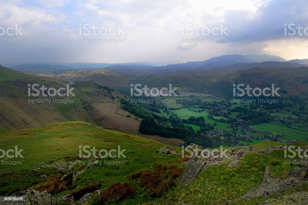Green fields of Grassmere stock photo