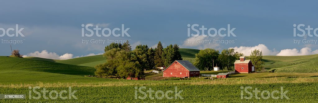 Green fields red barn, that is all you need stock photo