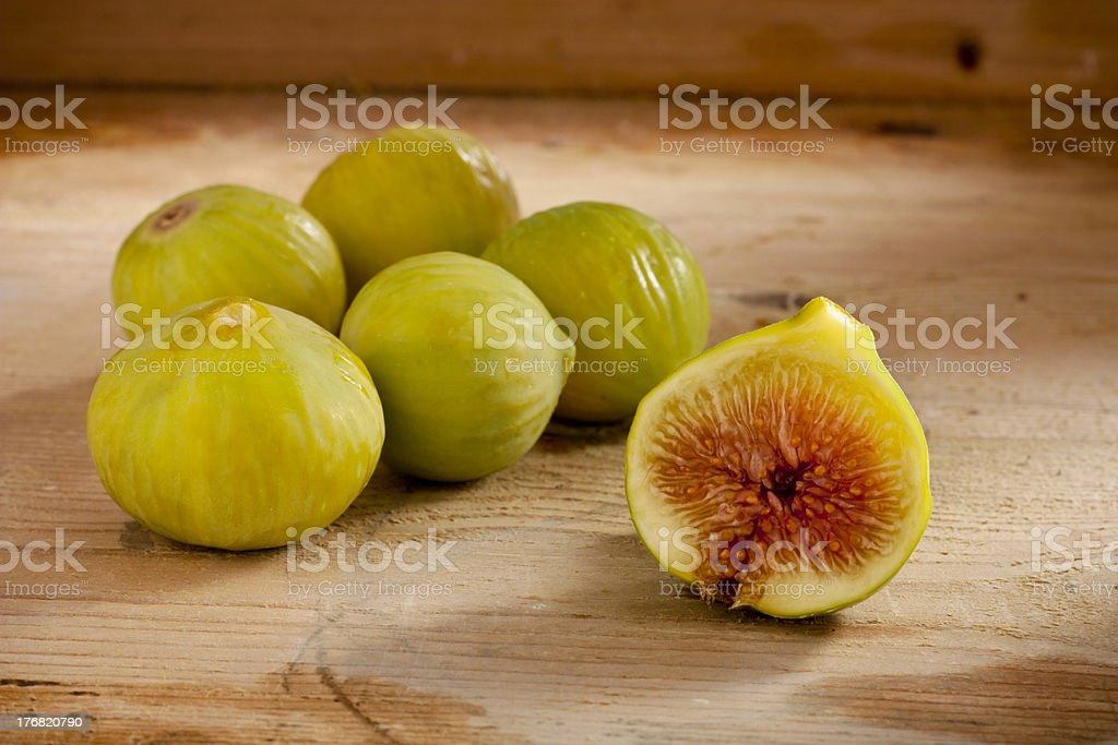 Green Figs on Wood royalty-free stock photo