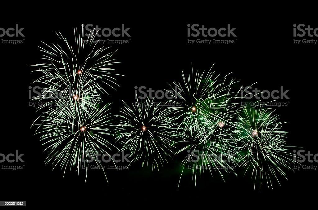 Green fireworks display stock photo