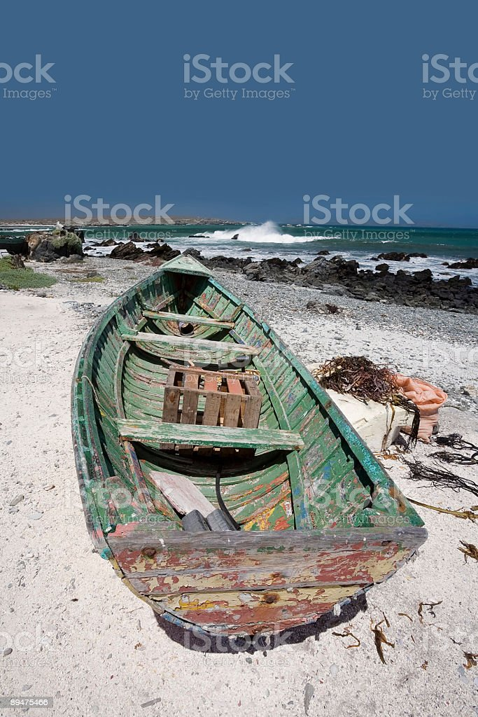Green Fishing Boat in Chile stock photo