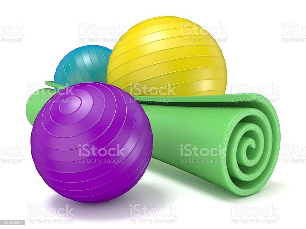 Green fitness mat and pilates ball. 3D stock photo