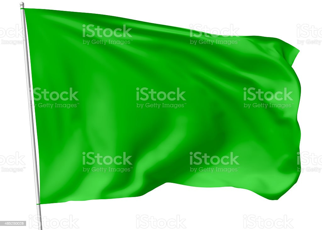 Green flag on flagpole stock photo