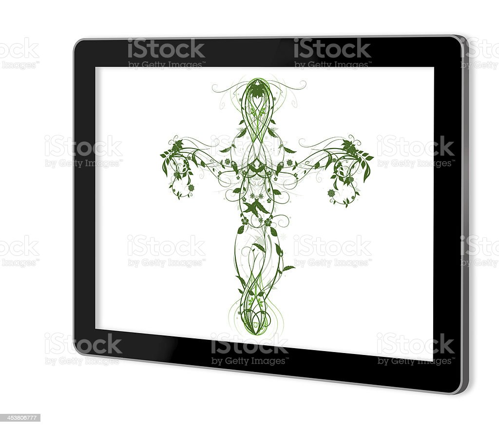 Green Floral Cross stock photo