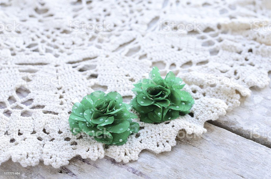 Green flowers hair pins royalty-free stock photo