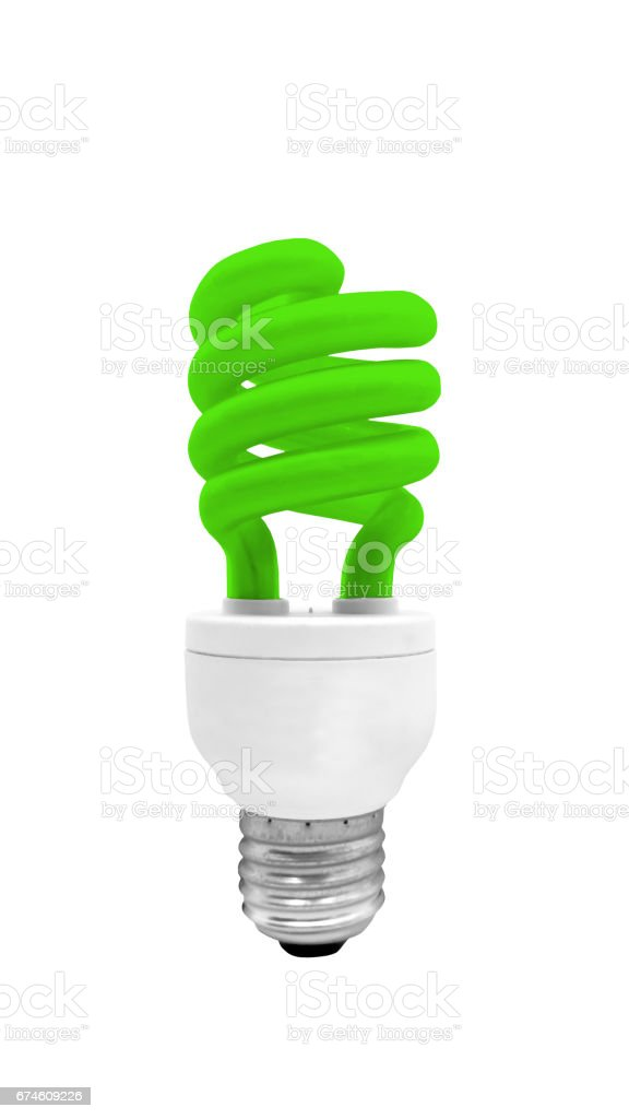 Green Fluorescent Light Bulb isolated on white background with clipping path stock photo