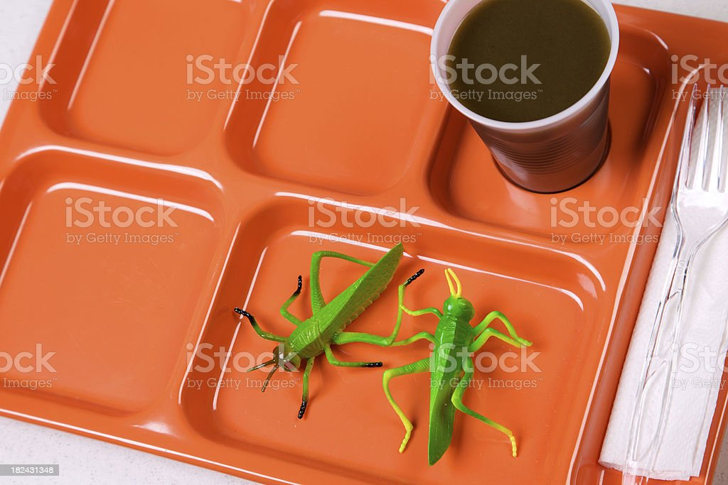 green food - orange lunch tray diet series royalty-free stock photo