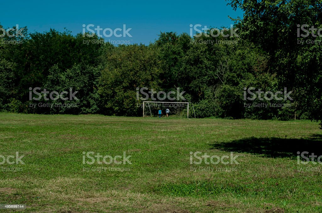 Football pitch in the woods royalty-free stock photo
