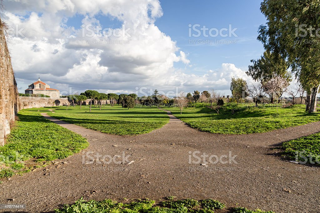 Green footpath in the park of Acquedotti stock photo